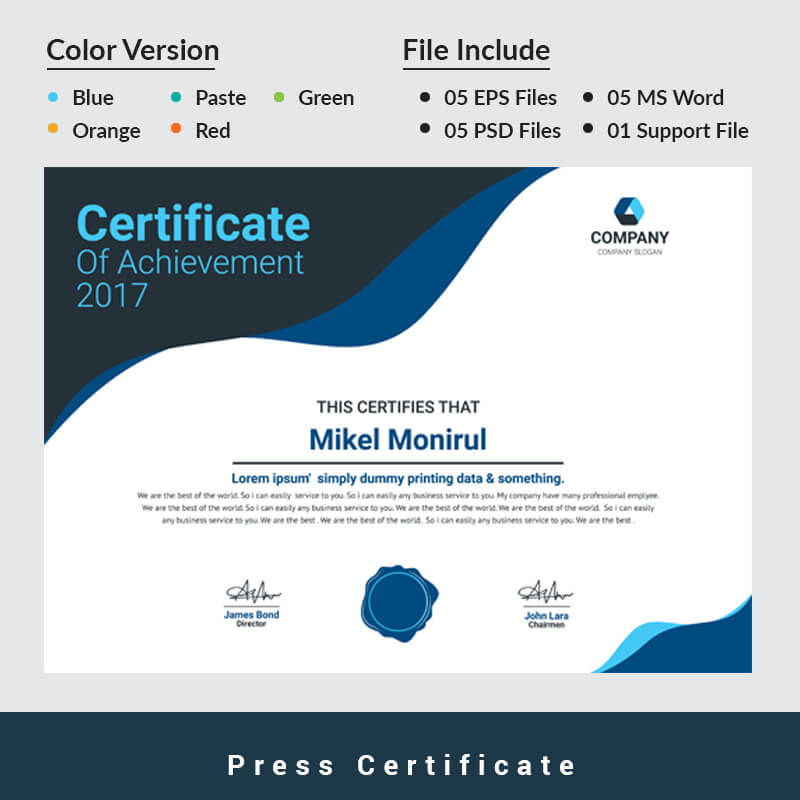 Press Certificate